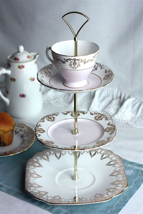 romantic shabby chic  tier cake stand cupcake pedestal perfectly pink  gold cakestand
