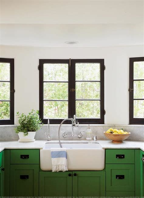 green and white kitchen cabinets black and green kitchen design ideas 368 | kelly green kitchen cabinets marble backsplash shelf black french windows