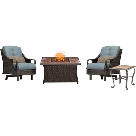 hton bay blue hill 5 patio conversation set with