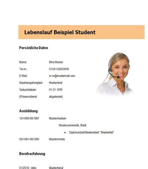 Lebenslauf Beispiel Student by Lebenslauf Beispiel Student Dokument Blogs