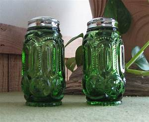 Green, Moon, And, Stars, Salt, And, Pepper, Shakers, L, E, Smith, Glass, Vintage, Kitchenware