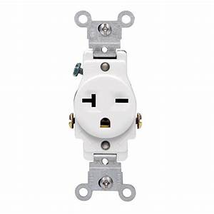 Leviton 20 Amp Commercial Grade Double-pole Single Outlet  White-r52-05821-0ws