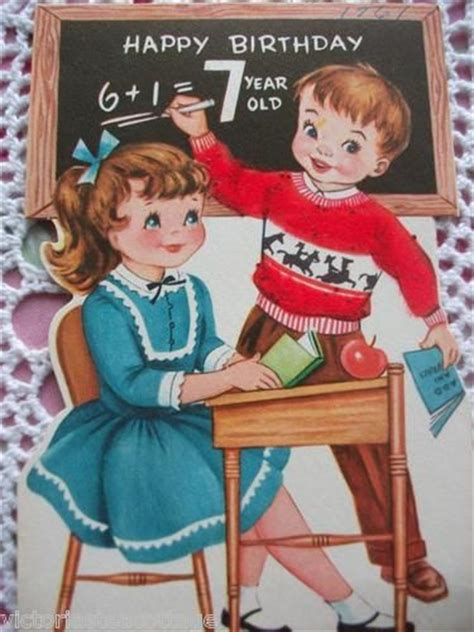 vintage greeting card happy birthday  year  boy girl
