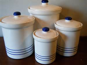 White Kitchen Canisters Set 4 White Eartenware Kitchen Canisters With Blue Stripes