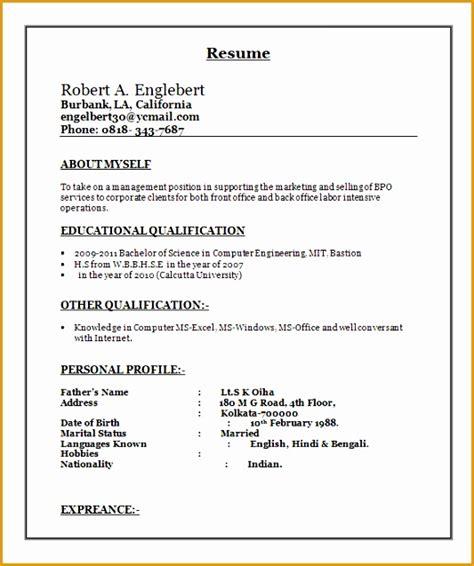 Sle Resume Template Word by 7 Bpo Resume Template Free Sles Exles Format