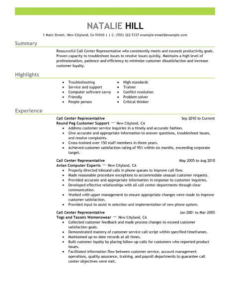 simple call center representative resume exle livecareer