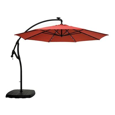 offset umbrella with solar lights allen roth 11 ft offset tilt umbrella with solar led