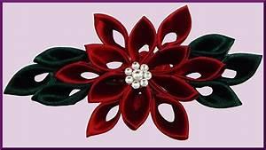 Blume Aus Frühstückstüten : diy kanzashi weihnachtsstern blume aus schleifenband ribbon christmas flower winter rose ~ Eleganceandgraceweddings.com Haus und Dekorationen