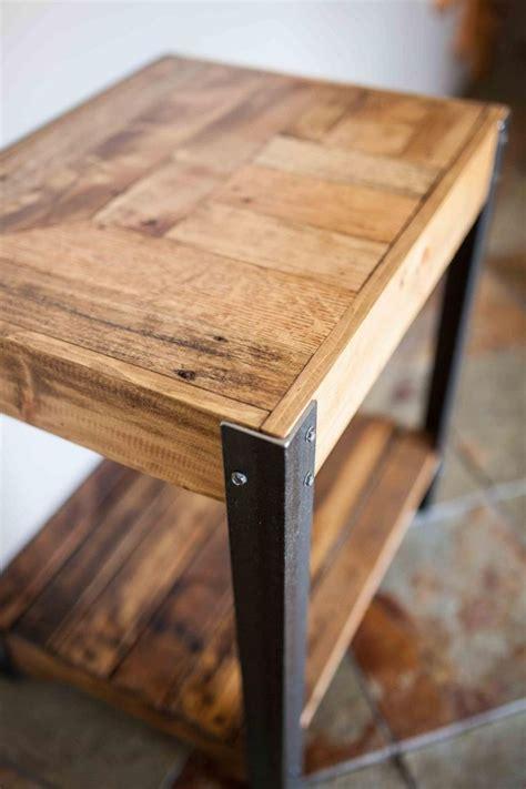 pallet wood side table  metal legs   shelf