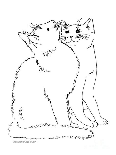 contour  drawing  overlapping kitties art