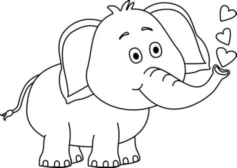black  white elephant blowing hearts clip art black