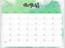 August 2018 Calendar Calendar 2018