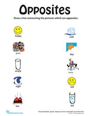 opposites activities for preschoolers identifying opposites from happy to worksheet 845
