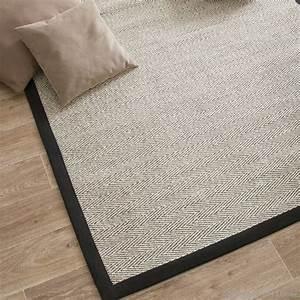 tapis sisal bicolore chevrons avec ganse en coton With tapis enfant avec housse de canapé anti poils