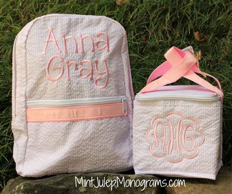 small seersucker backpack  monogram personalized baby cuteness