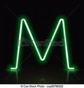 Vector Illustration of 3d green neon light letter M