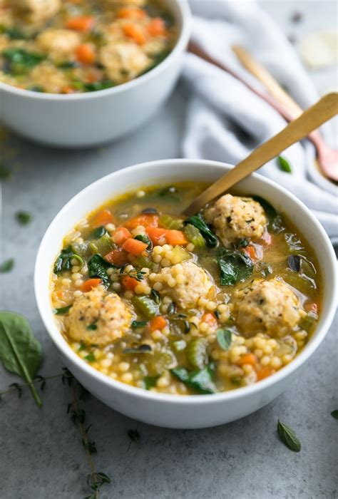 If you like thai food, and you like chicken noodle soup, then you are going to really love this aromatic soup. Mini Meatball Chicken Noodle Soup with Veggies, Spinach ...