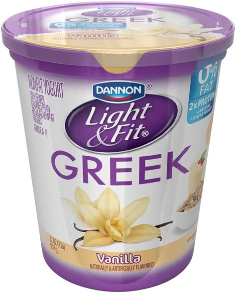 Light & Fit by Dannon Greek Nonfat Yogurt, Vanilla, Gluten