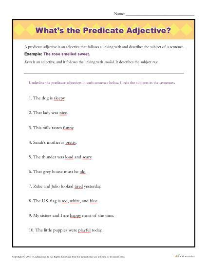 What's The Predicate Adjective?  Printable Parts Of Speech Activity