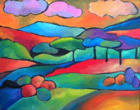 landscape in oil pastel