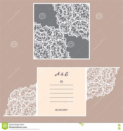 laser cut l template wedding invitation or greeting card with abstract ornament