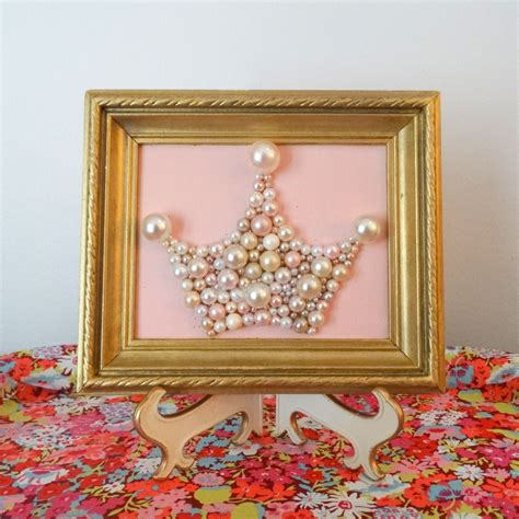 Pairing a glamorous gold with an innocent soft pink creates the most romantic color combination. Pink and Gold Nursery Art - Princess Crown - Mosaic wall art - Pastel pink - Wood Gold frame ...