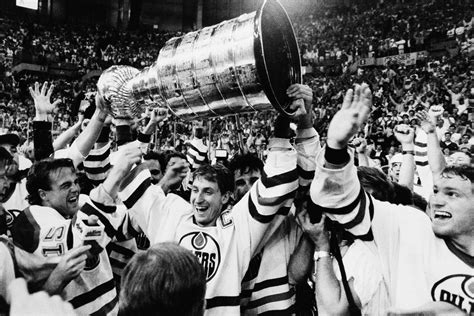 gretzky stanley cup wayne oilers edmonton goals career record hockey ap canada 1987 holding dryden dreaming winning ovechkin flanked teammates