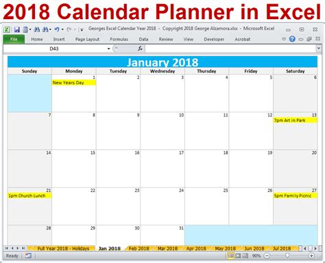 excel calendar year template printable monthly calendar
