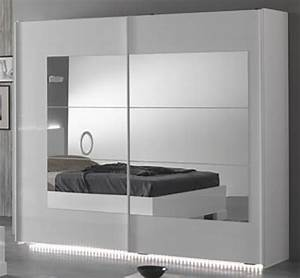 Armoire 2 portes coulissantes ancona laque blanc cacl 200 for Robe de chambre enfant avec la redoute matelas memoire de forme