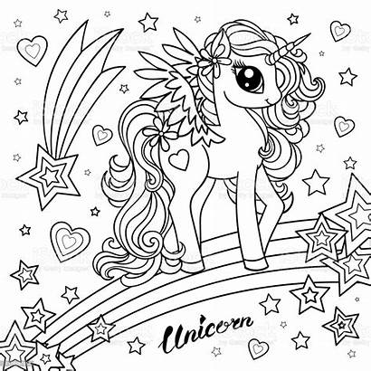 Unicorn Coloring Animal Magical Children Drawing Clipart