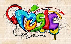 Graffiti style Music background Wall Mural • Pixers® • We