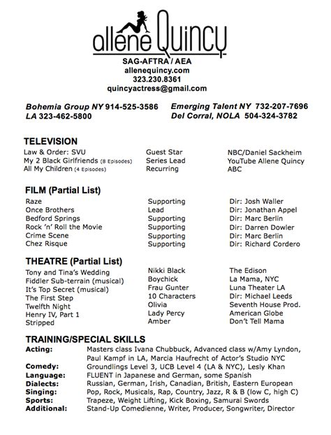 List Of Skills And Talents For Acting Resume by Allene Quincy Resume
