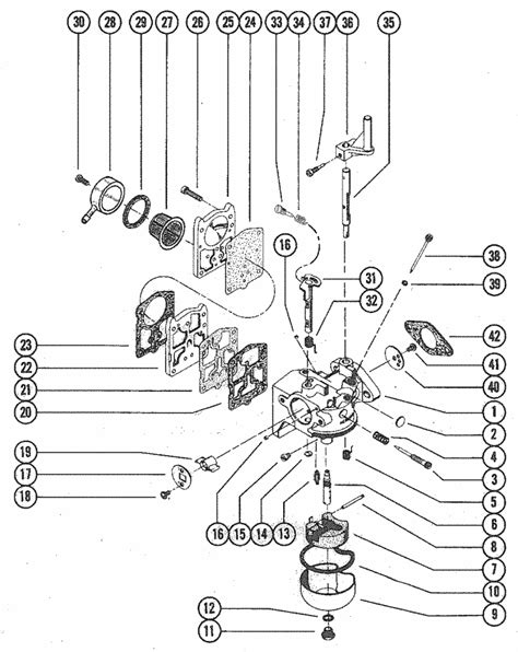 mercury marine model   hp carburetor assembly