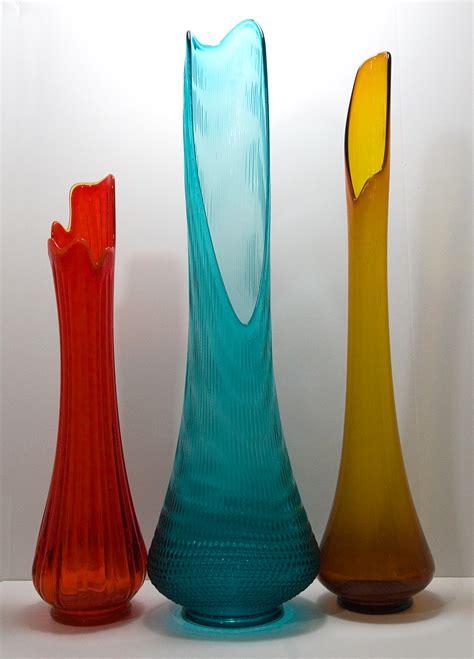 Glass Floor Vases by Retro Glass Floor Vase In Persimmon 1960 1970