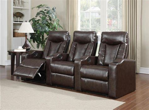soflex noor brown bonded leather reclining home theater