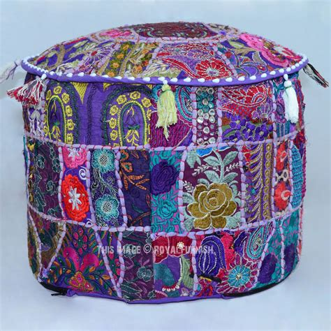 poof ottoman 17 quot purple boho patchwork embroidered pouf ottoman