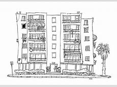 Apartment Building Drawing Architecture Drawing Of A City