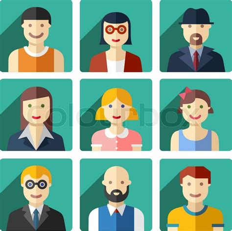 vector flat avatar icons faces stock vector