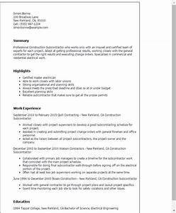 construction subcontractor resume template best design With contractor resume template
