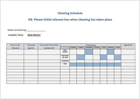 cleaning schedule templates  ms word  ms excel