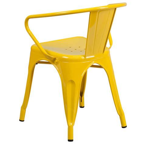 yellow table l base vibrant yellow galvanized tolix arm chair in outdoor