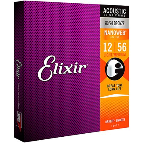 elixir 80 20 bronze acoustic guitar strings with nanoweb
