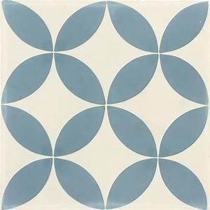 Carreau De Ciment Sol Et Mur Bleu Et Blanc Palmette L20 X