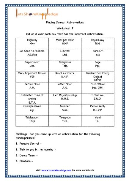 grade 4 english resources printable worksheets topic abbreviations lets share knowledge