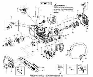 Poulan Ppb4218 Gas Saw Type 1 Parts Diagram For Handle  Chassis  U0026 Bar Assembly Type 1 2