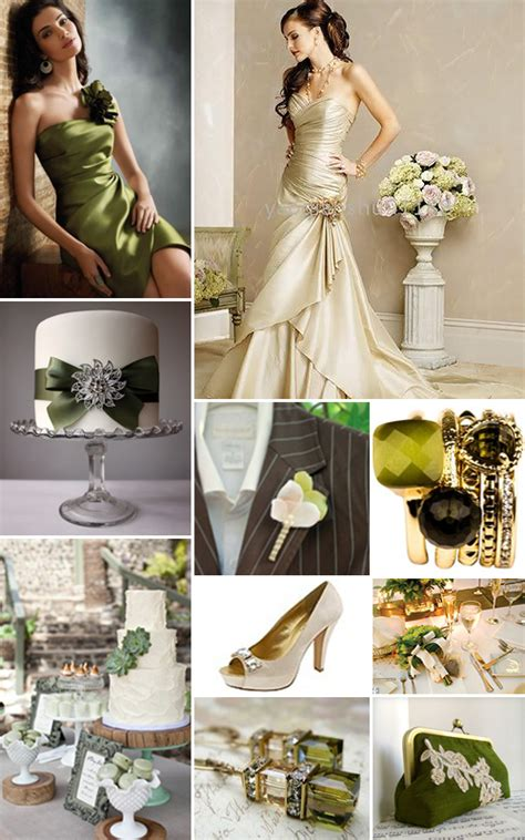 champagne  olive green weddings