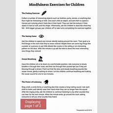 Mindfulness Activities For Children (worksheet)  Therapist Aid