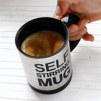 Mug Stirring Self Coffee Button Gifts Know