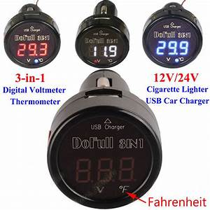 3in1 Led Digital Voltmeter Thermometer 12v 24v Car