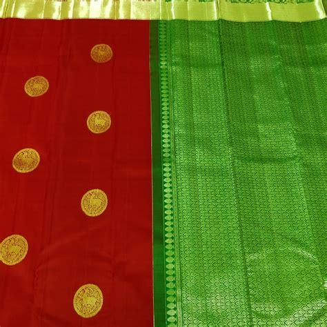 shop dharmavaram red dotted deer motif grand border silk saree